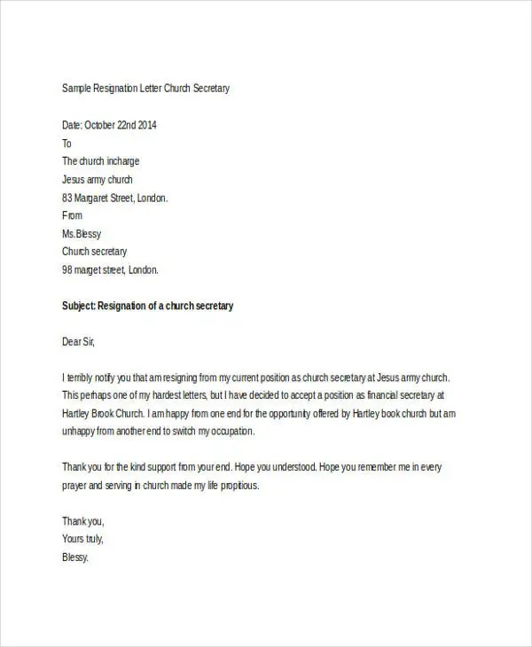 Church Resignation Letter Template - 9+ Free Word, PDF Document