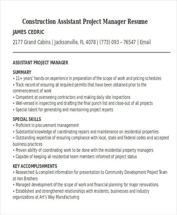 assistant project manager resume - Ozilalmanoof