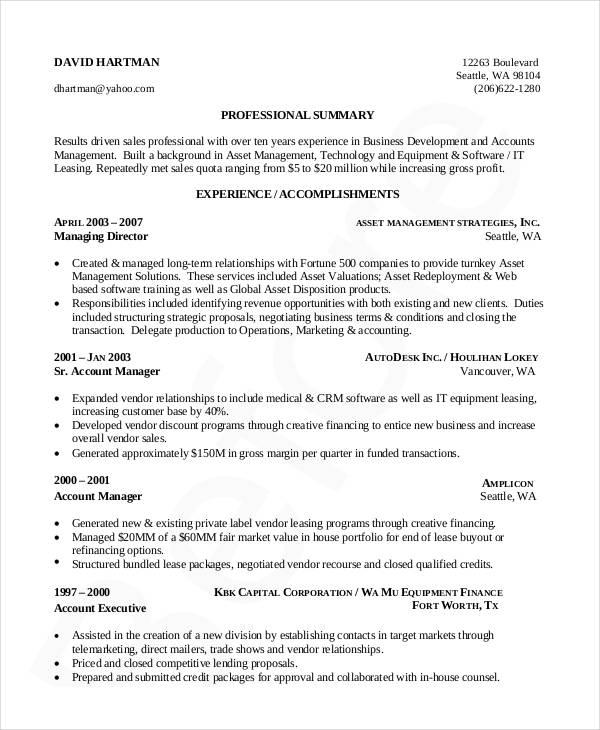 20+ Business Resume Templates - PDF, DOC Free  Premium Templates - sample resume business owner