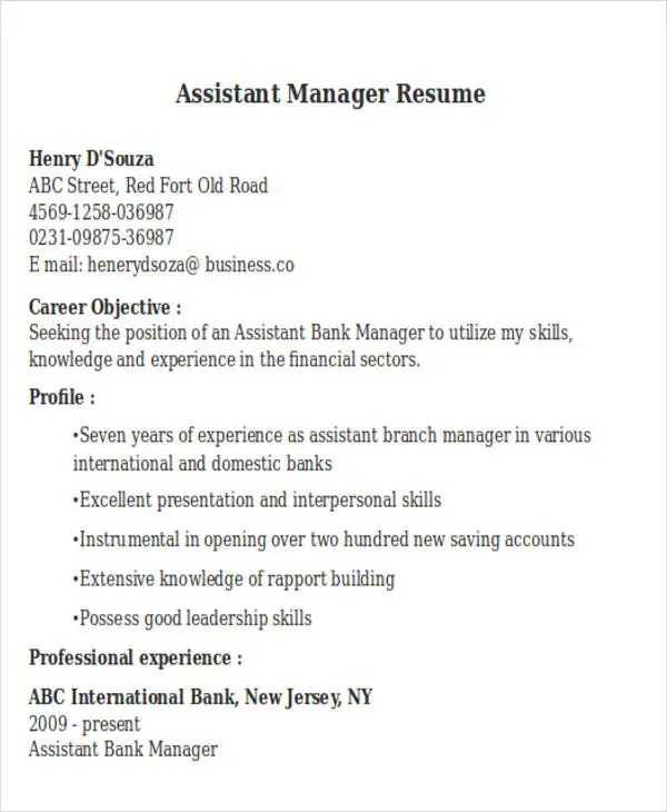 bank assistant manager resumes