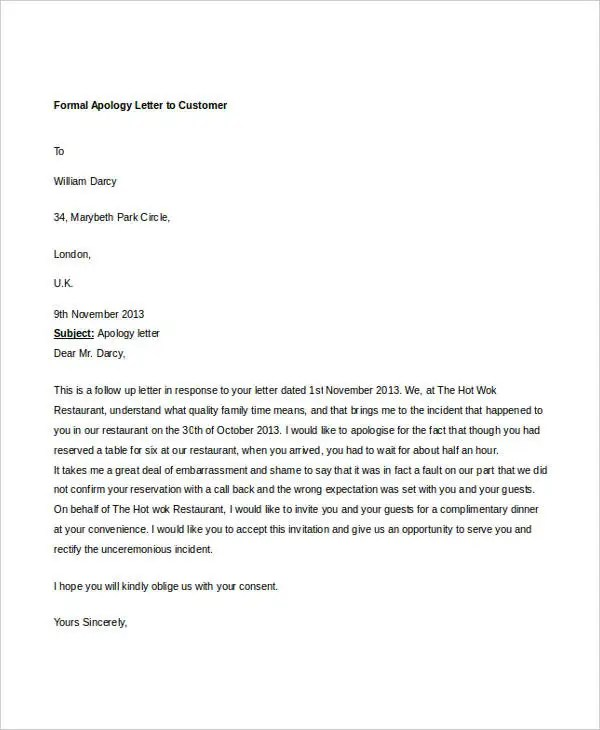 formal apology letters - Teacheng - formal apology letters