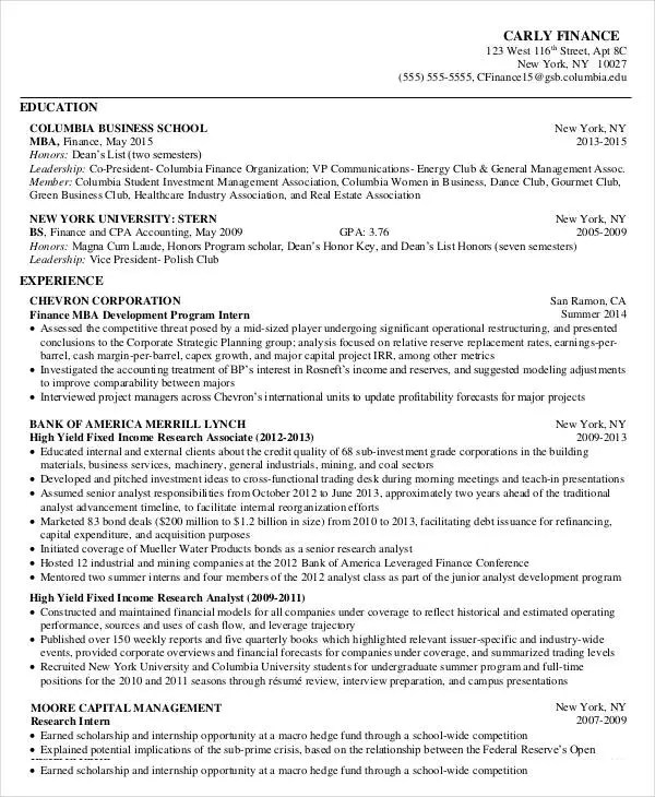 mba student resume sample professional mba application resume