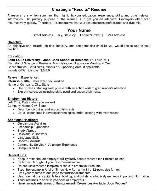 resume of business accomplishments template