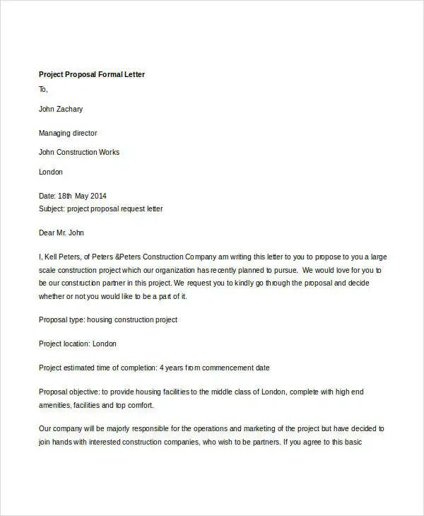 Formal Letter Sample Template - 70+ Free Word, PDF Documents - project proposal letter