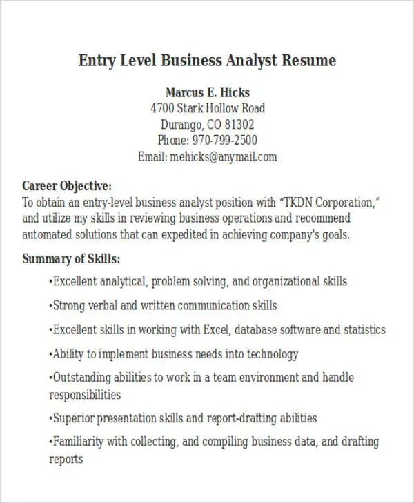 sample business analyst resume entry level - Militarybralicious - sample business analyst resume