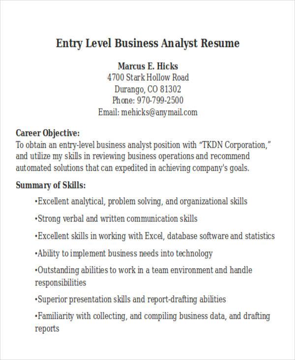 sample entry level data analyst resume