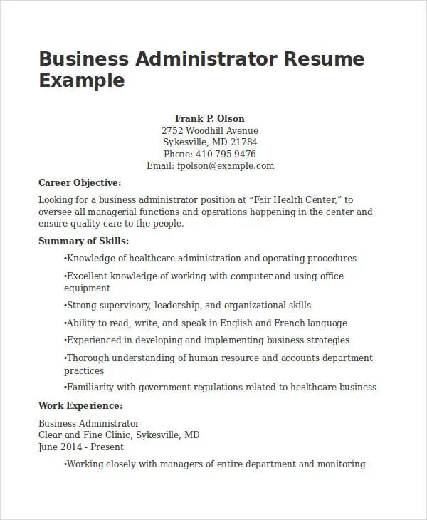 free sample business administration resume