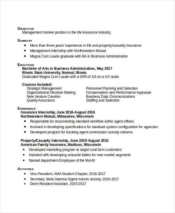 29+ Administration Resume Samples - PDF, DOC Free  Premium Templates - business administration resume samples