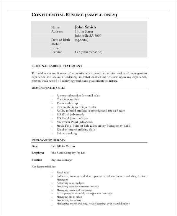 20+ Business Resume Templates - PDF, DOC Free  Premium Templates