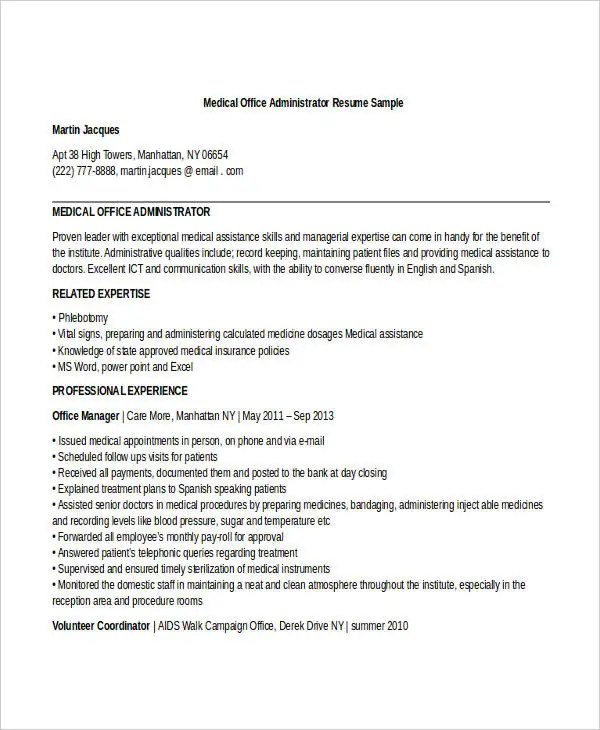 29+ Administration Resume Samples - PDF, DOC Free  Premium Templates - sample resume office administrator