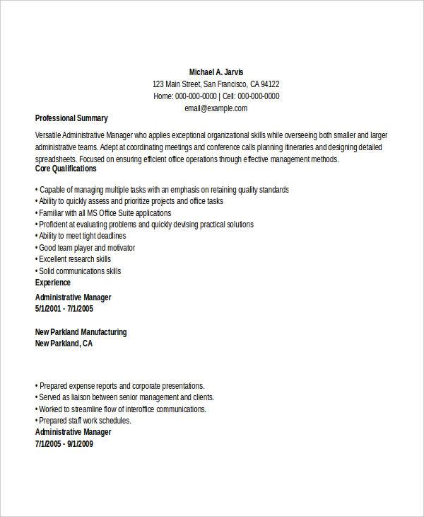 29+ Administration Resume Samples - PDF, DOC Free  Premium Templates
