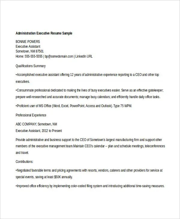 50+ Administration Resume Samples - PDF, DOC Free  Premium Templates