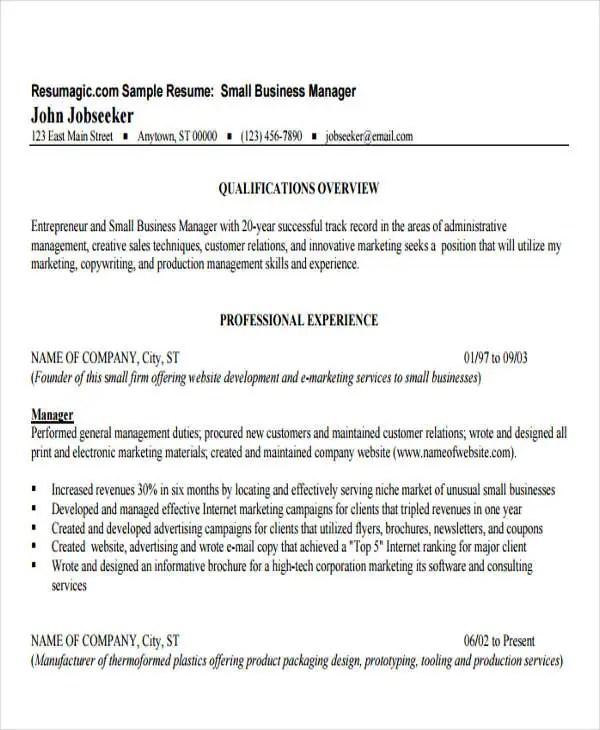 30+ Business Resume Templates - PDF, DOC Free  Premium Templates - Resume Business Manager