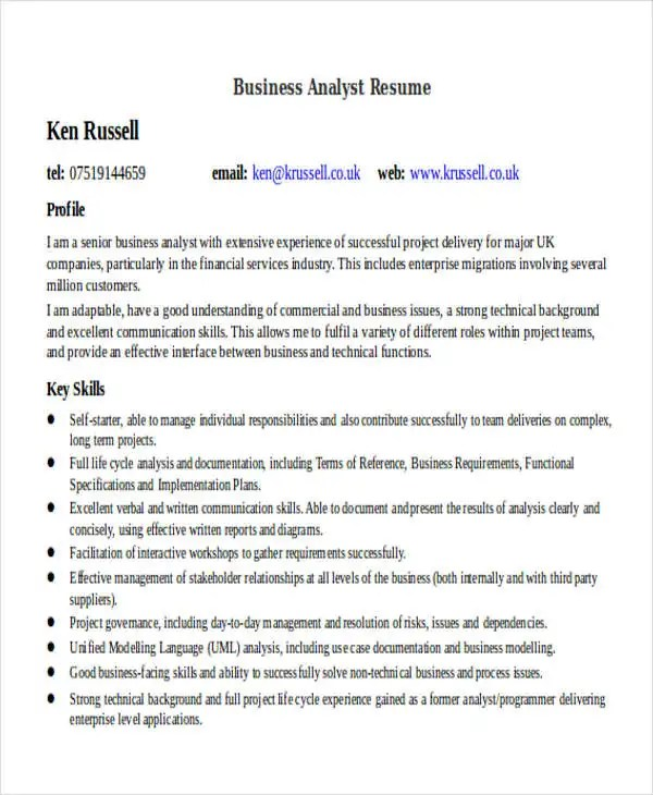 business resume sample free premium templates business analyst resume objective - Senior Business Analyst Resume Sample