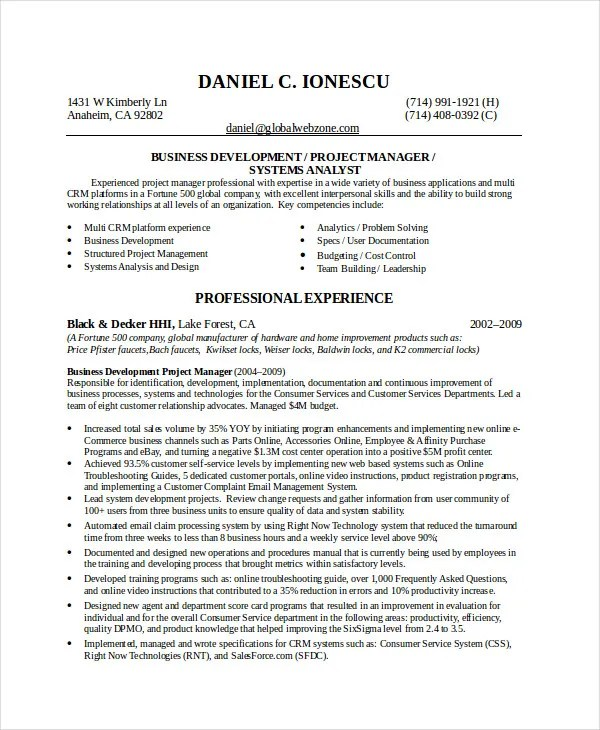 Best Business Resume - 30+ Free Word, PDF Document Download Free - business development resume example