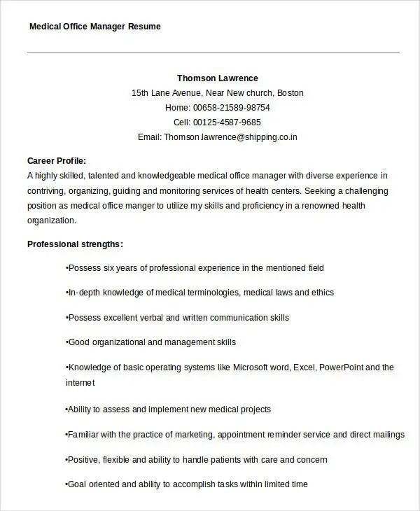 medical office resume templates