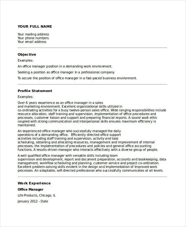 Ms Office Resume Templates 22+ Manager Resume Templates - Pdf, Doc | Free & Premium