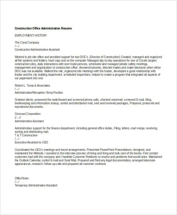 25+ Administration Resume Templates - PDF, DOC Free  Premium - construction administrative assistant sample resume