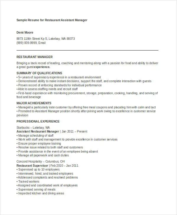 assistant restaurant manager resume template