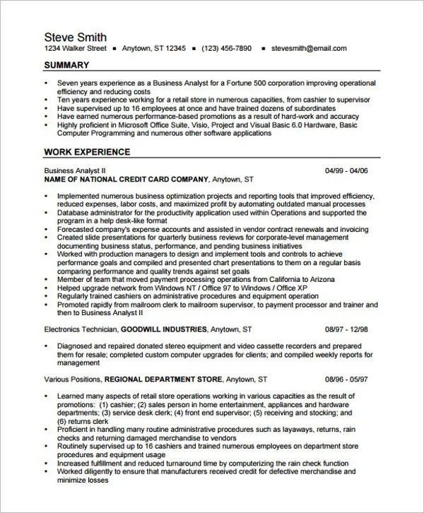 sample business analyst resume australia