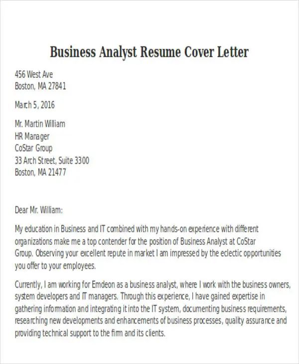 sample resume cover letter business analyst