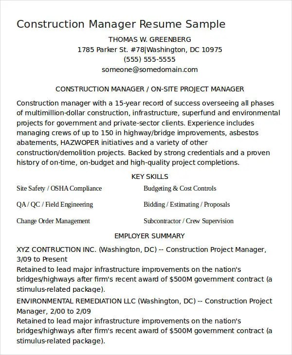 Free Manager Resume Templates - 40+ Free Word, PDF Documents - construction project manager resume sample
