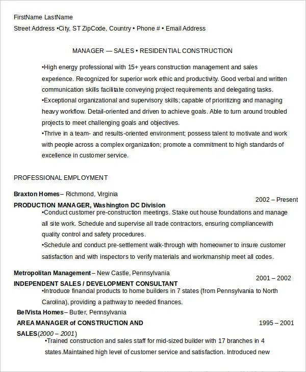 project manager construction resume template