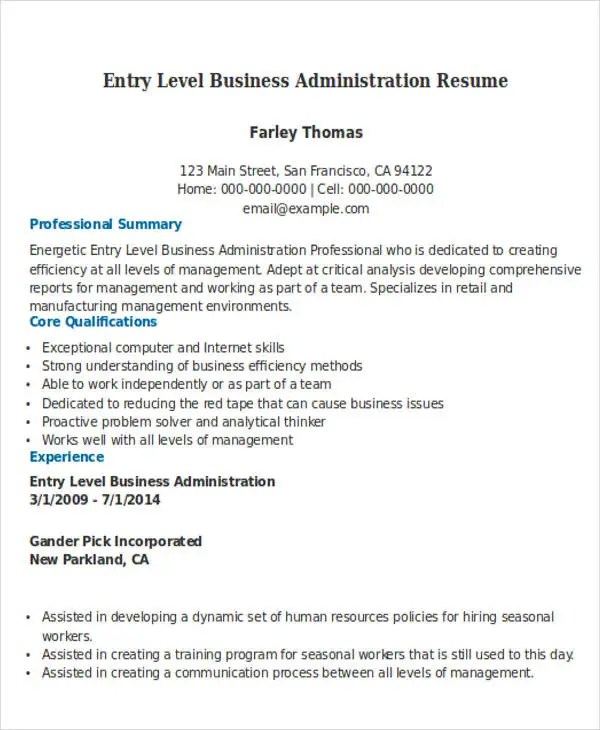 entry level business administration resume - Towerssconstruction