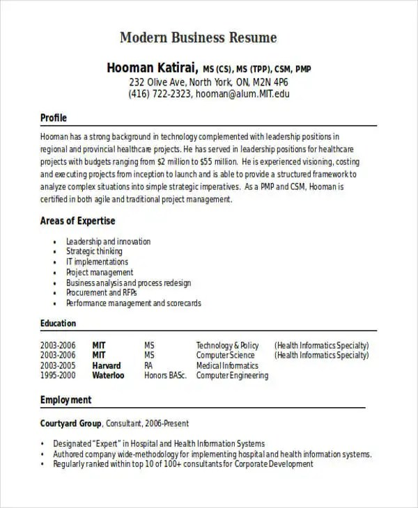 30+ Business Resume Templates - PDF, DOC Free  Premium Templates