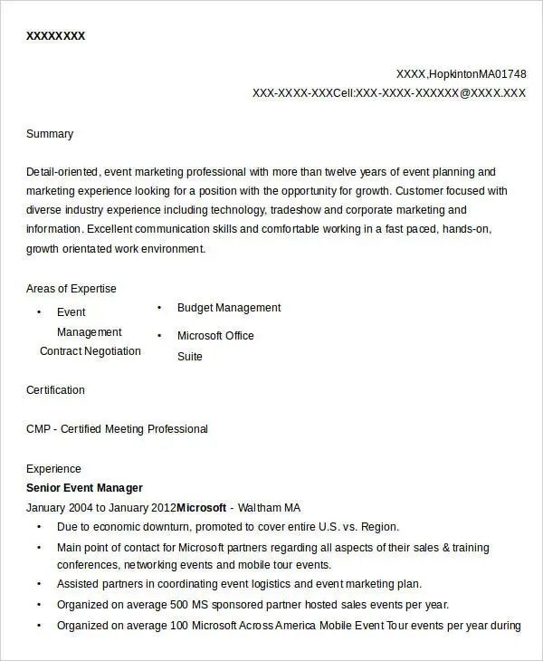 resume template senior project manager
