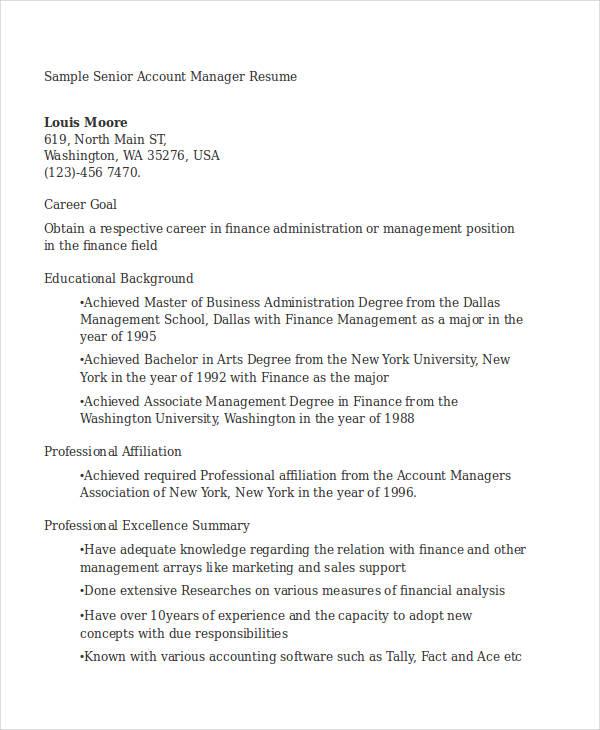 17+ Manager Resume Templates - PDF, DOC Free  Premium Templates