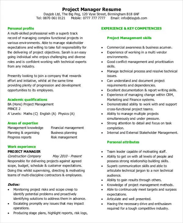 49+ Professional Manager Resumes - PDF, DOC Free  Premium Templates - project management experience examples