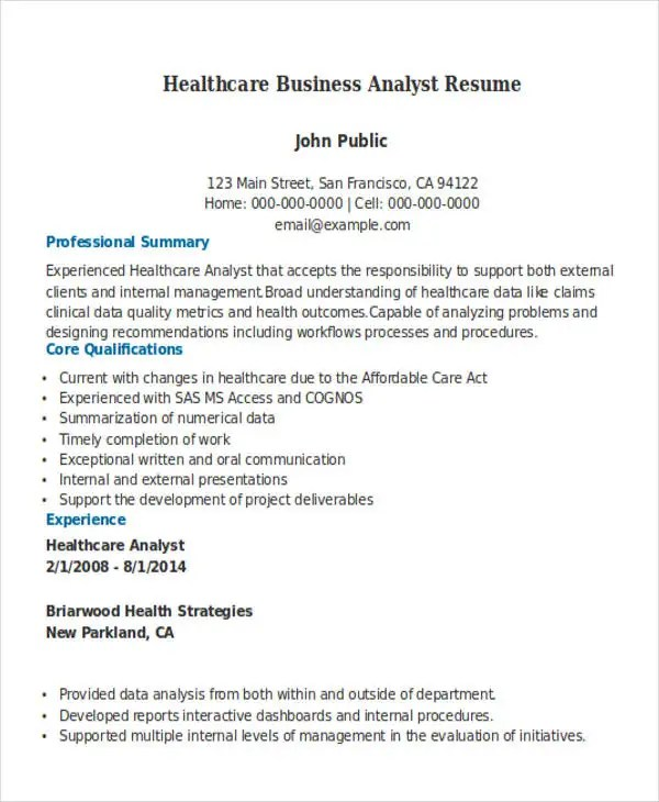 27+ Business Resume Templates Download Free \ Premium Templates - business analyst resume summary