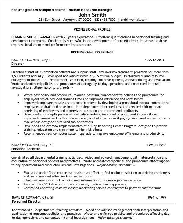 Human resources manager resume pdf - hr director job description