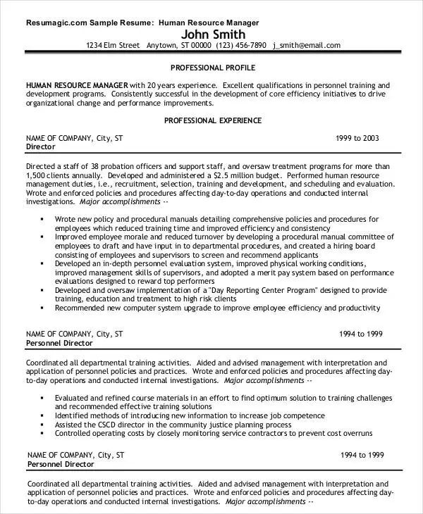 sample resume of a hr manager
