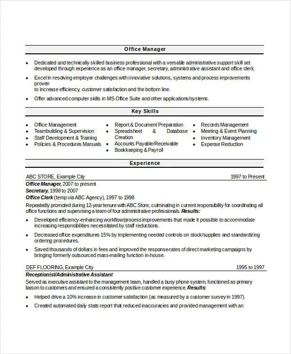 Professional Manager Resume - 49+ Free Word, PDF Documents - office manager resume examples