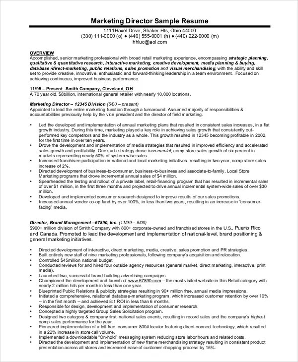 Manager Resume sample Template - 47+ Free Word, PDF Documents