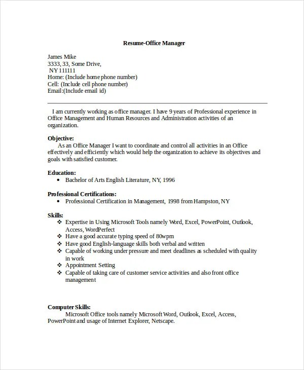 Manager Resume sample Templates - 43+ Free Word, PDF Documents - resume microsoft office
