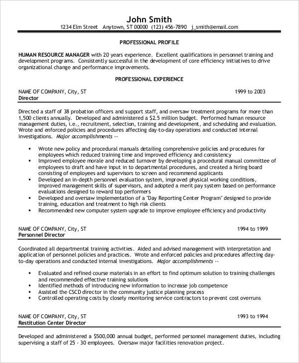 hr director resume sle human resources description