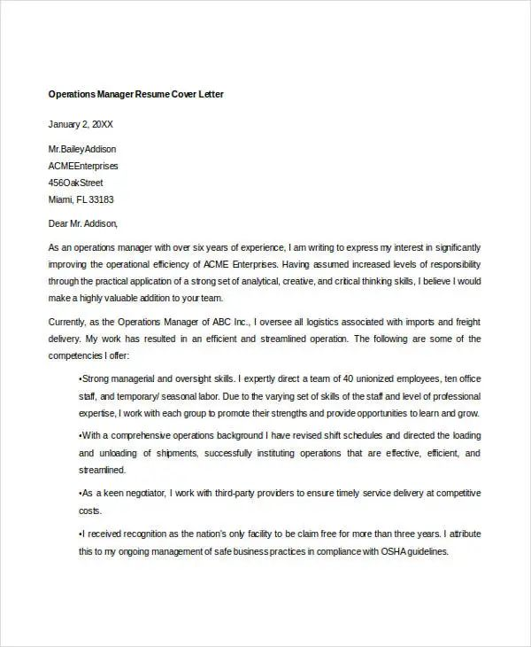 operation manager cover letter samples