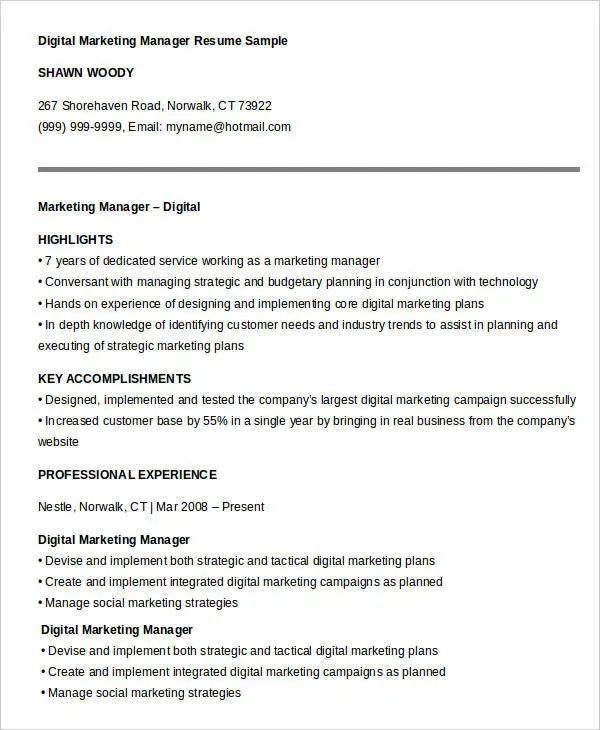 digital marketing resume template download