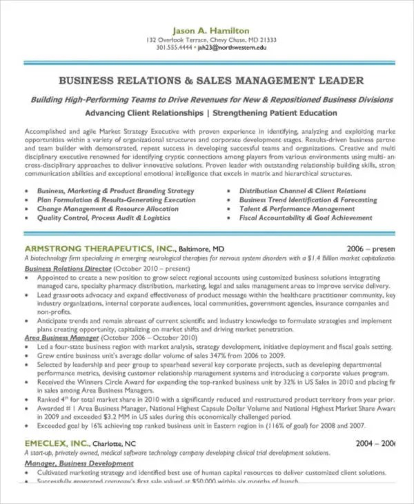 40+ Free Manager Resume Templates - PDF, DOC Free  Premium Templates - marketing manager resume template