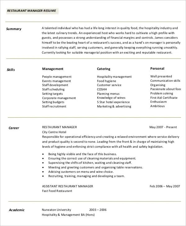 Professional Manager Resume - 49+ Free Word, PDF Documents - restaurant manager resume template