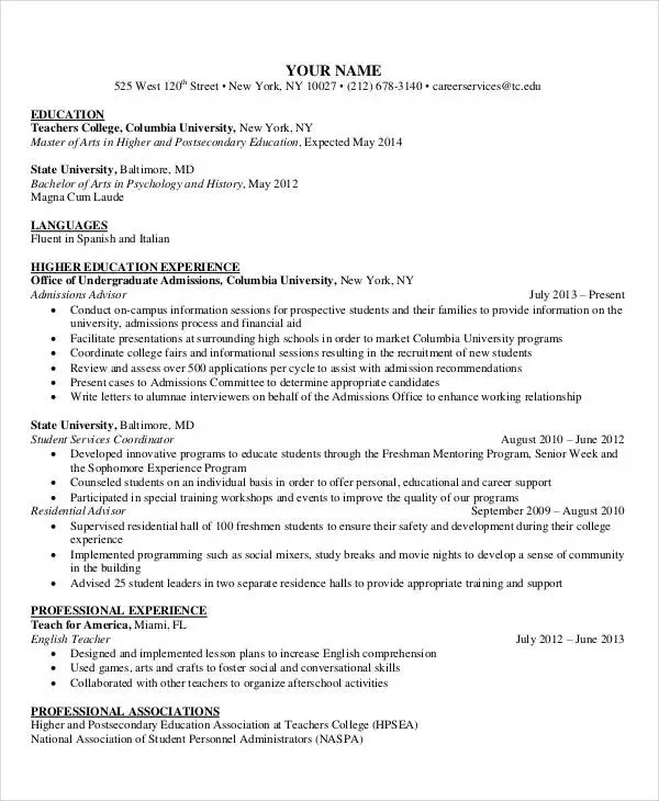 15+ Best Education Resume Templates - PDF, DOC Free  Premium - education on a resume example