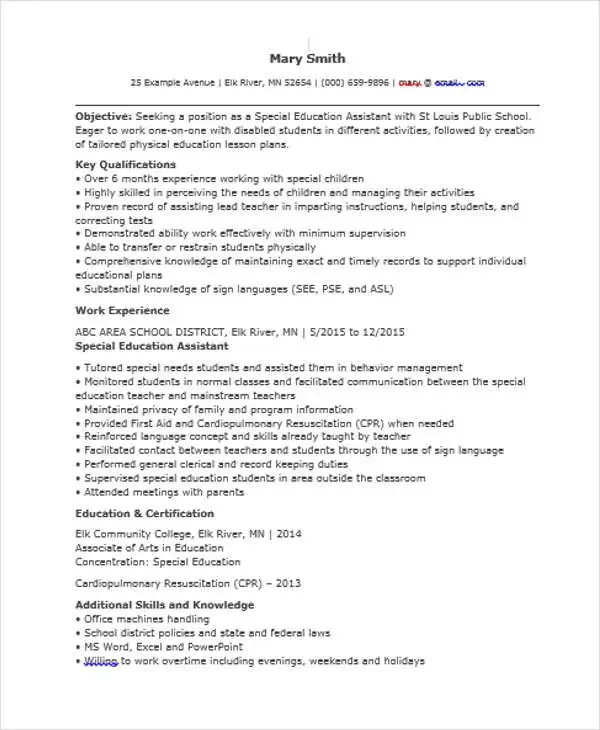 special education assistant resume - Minimfagency - special education resume