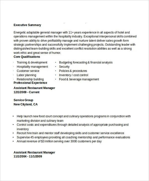 restaurant assistant manager resume sample - Militarybralicious - assistant restaurant manager resume