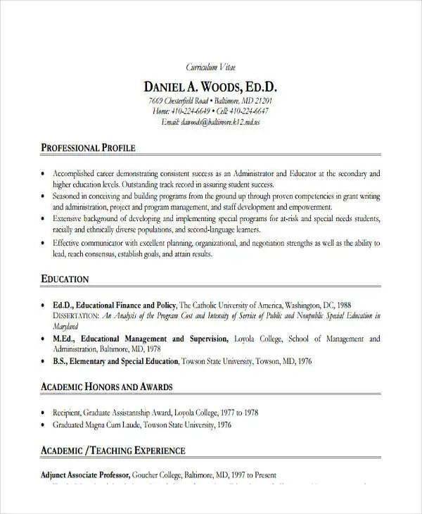 resume samples for education administrator