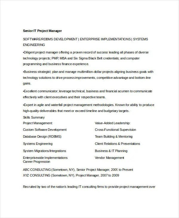senior it project manager resume cover letter software development