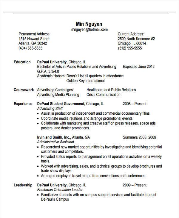 education resume samples