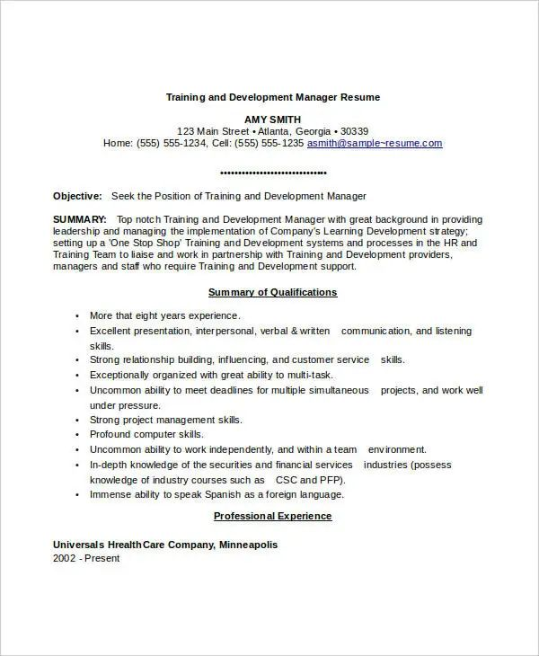 training manager resume template